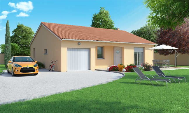 Maison plain pied 3 chambres conomique azurite logivelay for Prix construction maison 3 chambres