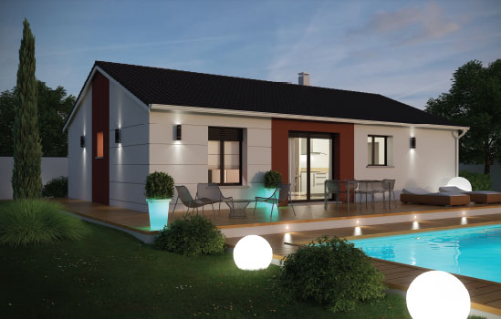 Maison plain pied 3 chambres conomique azurite logivelay - Modele maison plain pied 3 chambres ...