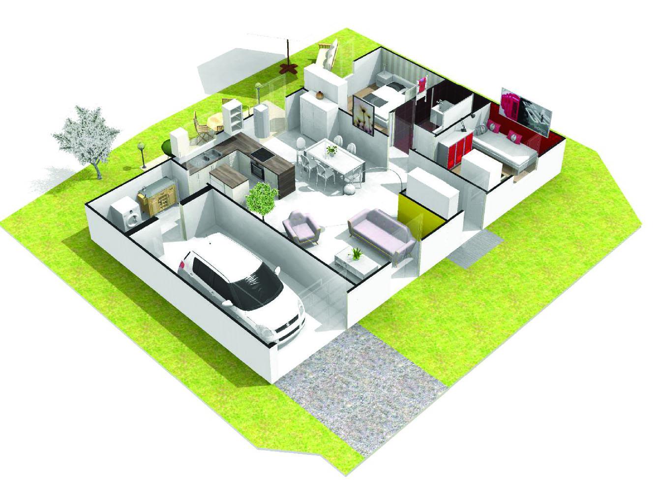 Maison 2 chambres plain pied agate logivelay for Construction maison plain pied 2 chambres