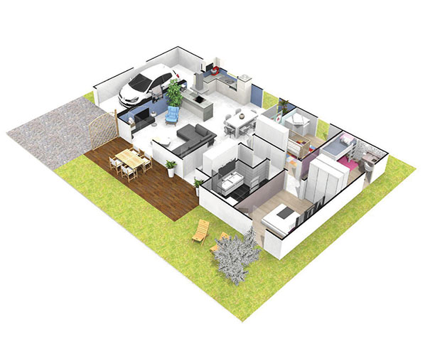Maison plain pied moderne dynamique hyades logivelay for Plan maison pour petit terrain