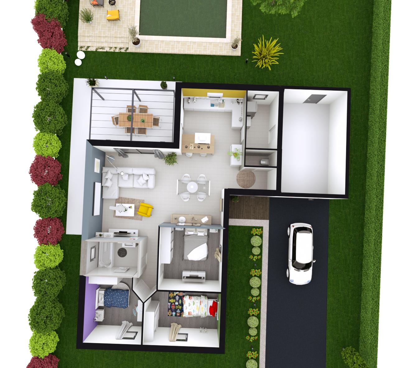 Maison Contemporaine Plain Pied Toiture Terrasse