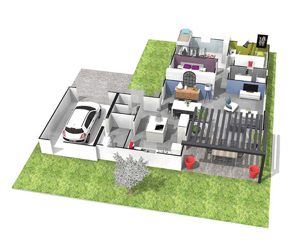 Maison contemporaine plain pied toiture terrasse for Plan maison toit terrasse plain pied