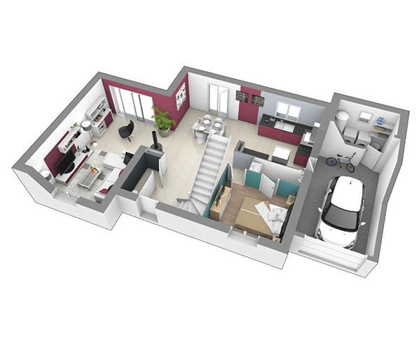 maison moderne tage matin clair logivelay. Black Bedroom Furniture Sets. Home Design Ideas