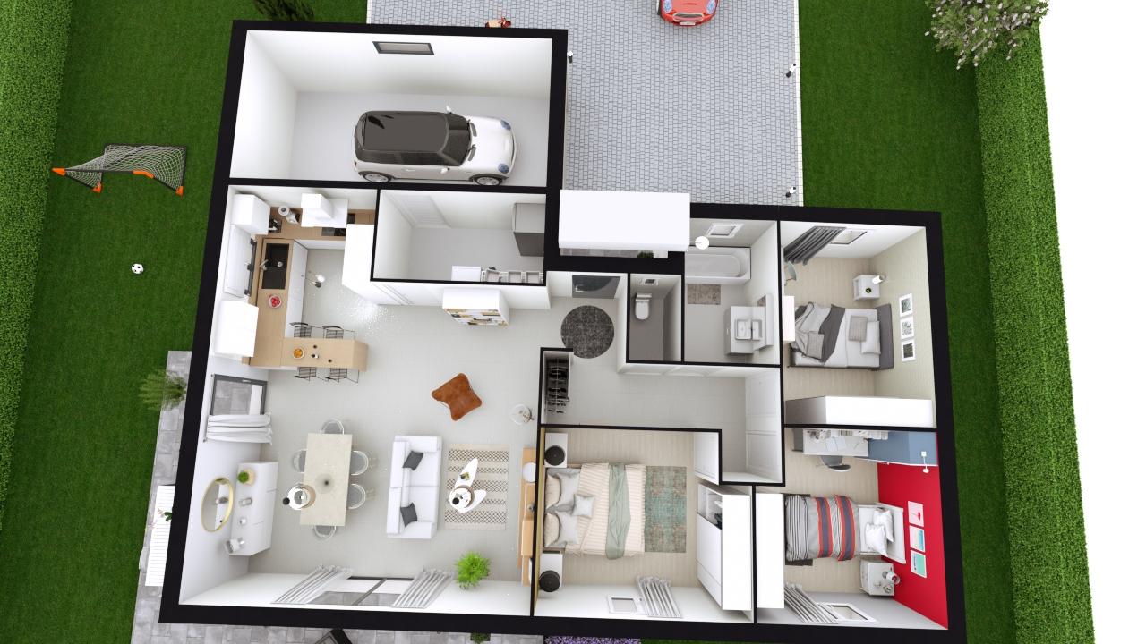 Arkoze Maison Plain Pied En L A Toiture Mixte 3 Chambres Logivelay
