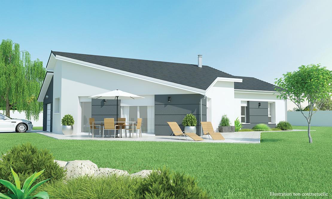 maison plain pied moderne sur terrain plat blavozy 43700. Black Bedroom Furniture Sets. Home Design Ideas