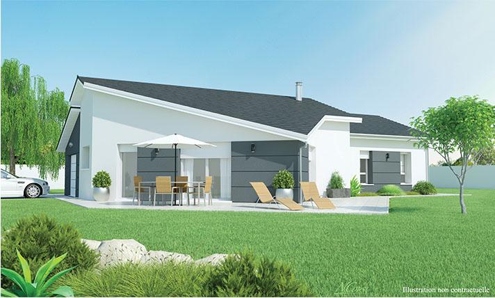 Maison plain pied moderne sur terrain plat blavozy for Maison moderne plain pied toit plat