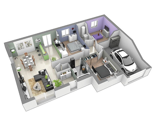 maison plain pied moderne sur terrain plat blavozy. Black Bedroom Furniture Sets. Home Design Ideas