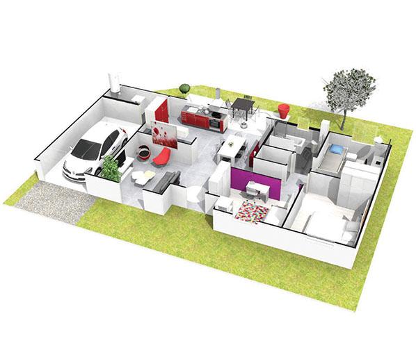 Maison plain pied moderne st pal de mons logivelay for Plan maison fonctionnelle