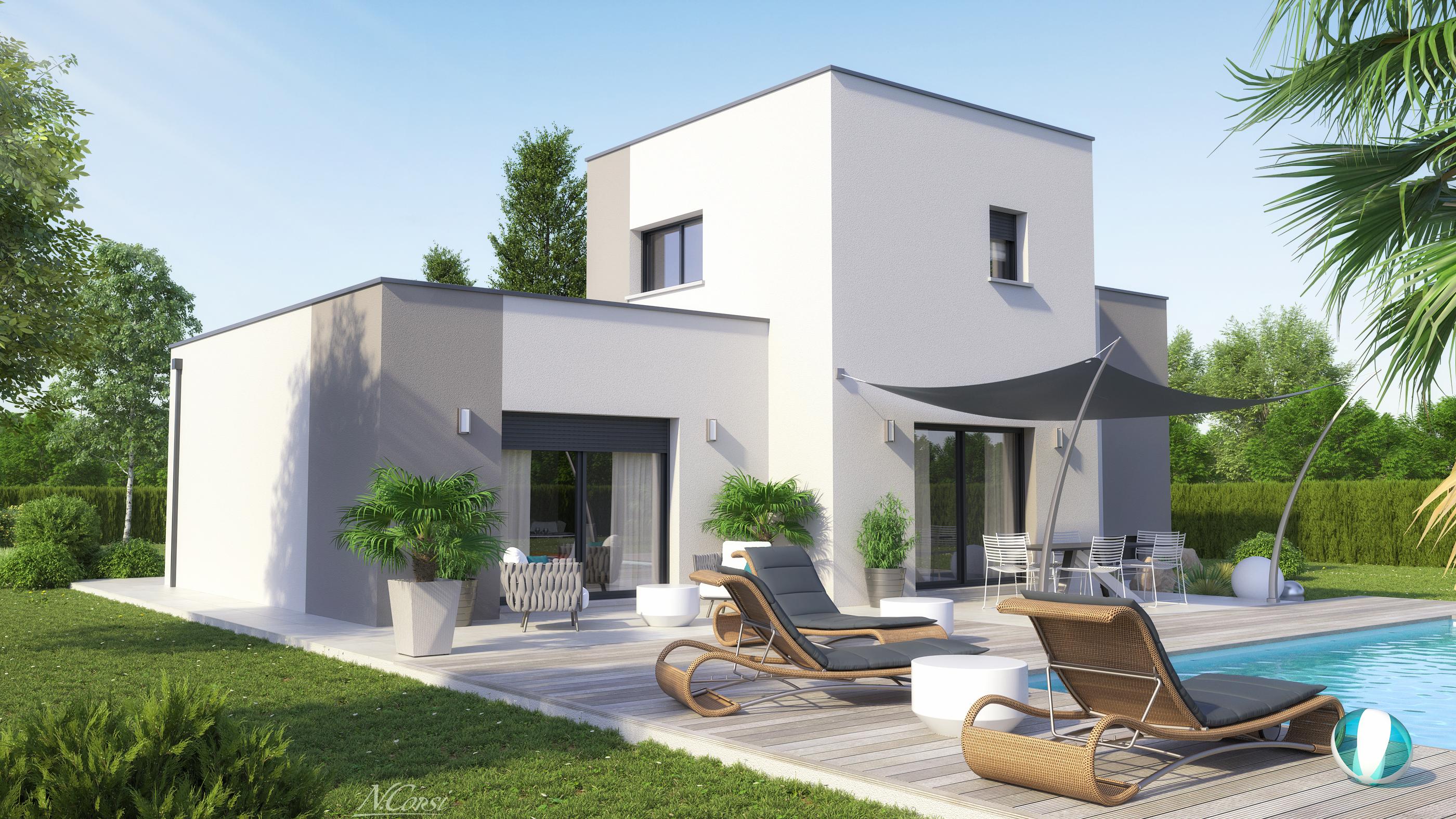 Grande maison design toit terrasse centre issoire logivelay for Maison design