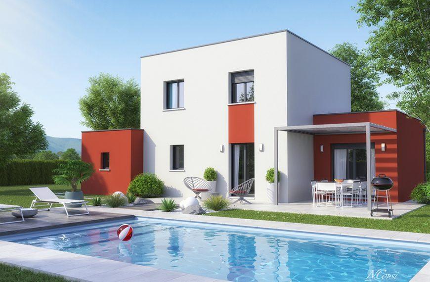 maison étage design toit plat