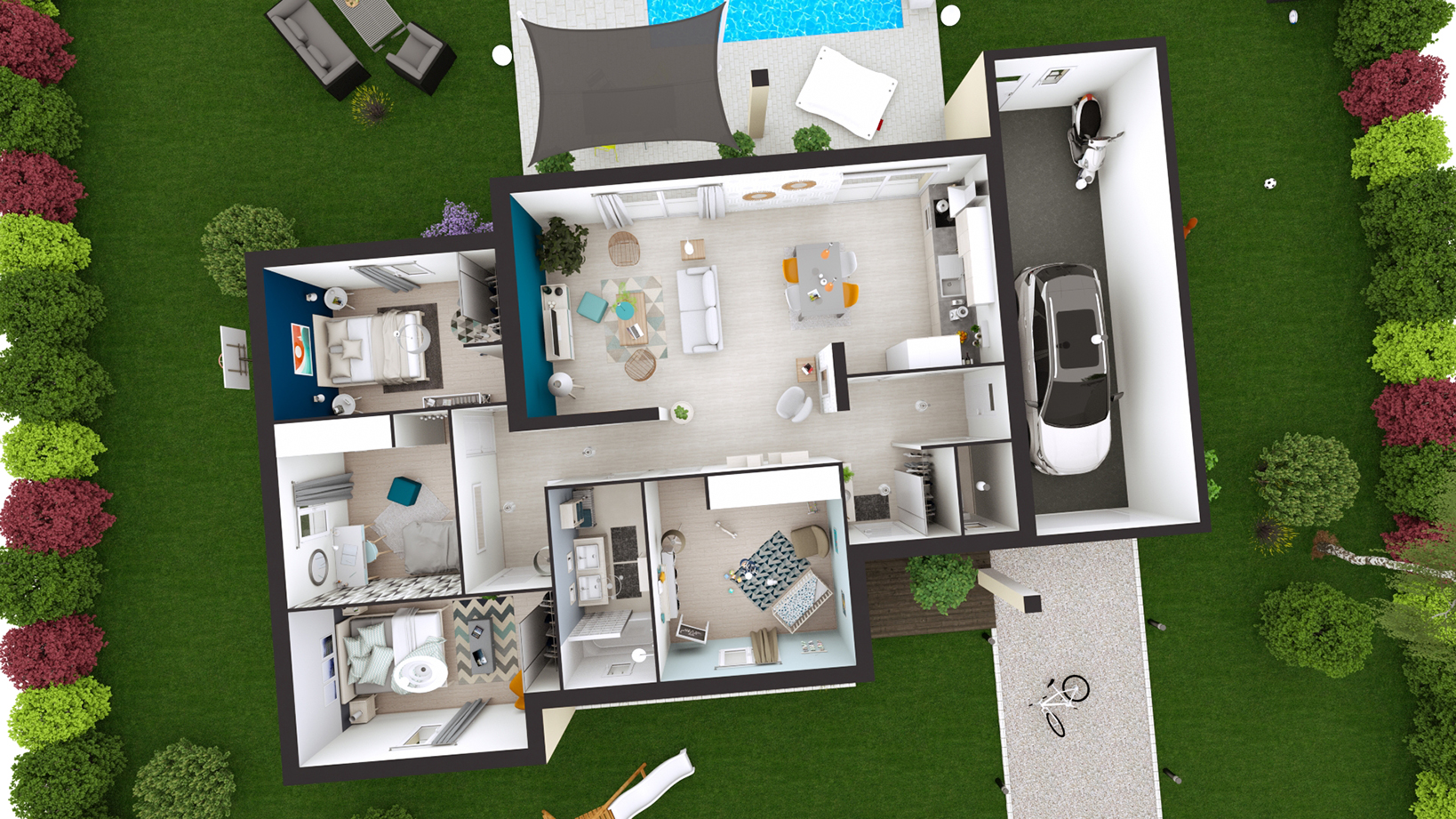 Maison plain pied design julia toit plat