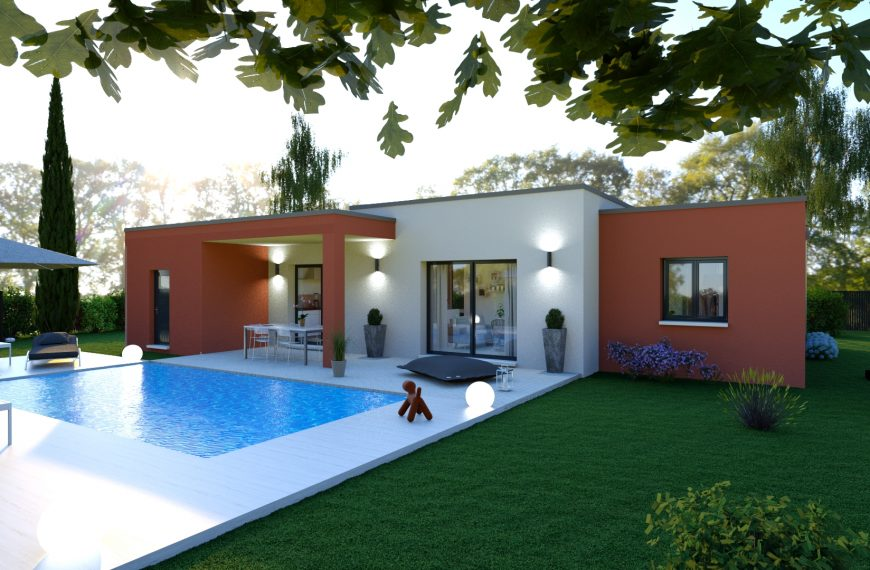 AMBRE, maison plain-pied à toit plat, 3 chambres