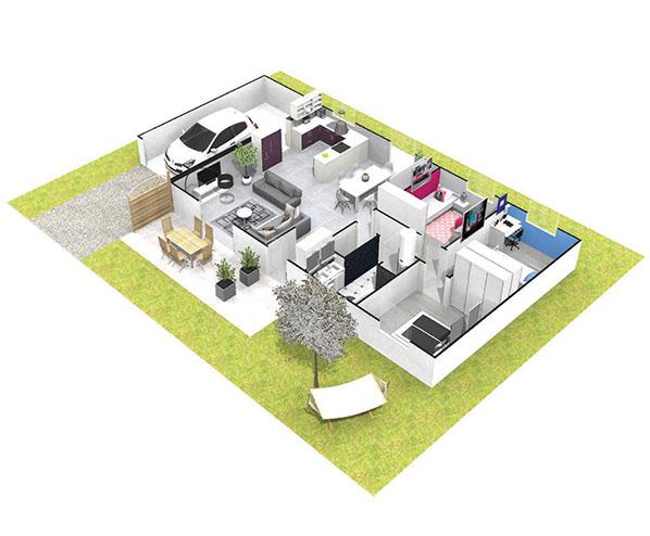 Maison plein pied sur vide sanitaire vals pr s le puy for Construction maison 60000 euros