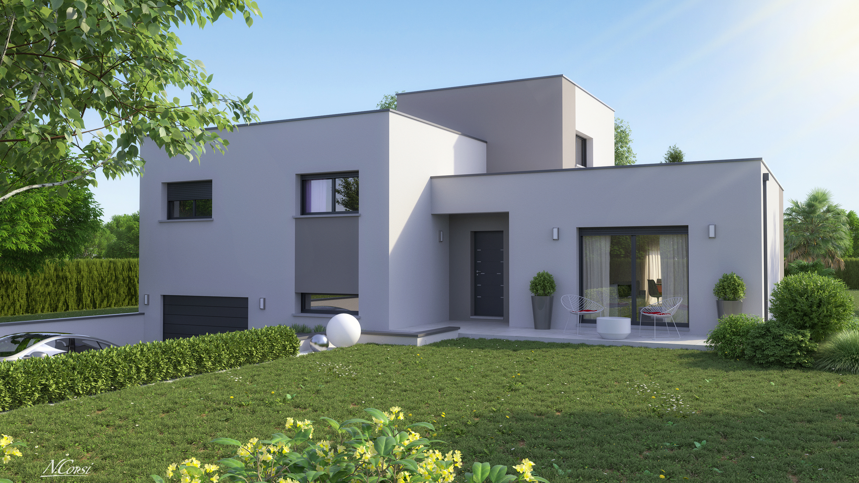 Maison design demi tage toit plat clara logivelay for Transformer une maison traditionnelle en contemporaine