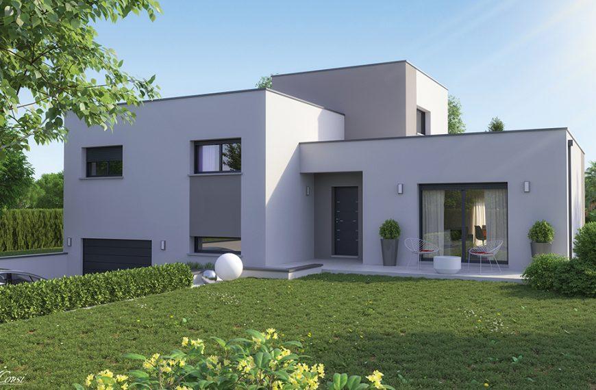 maison design demi étage toit plat Clara