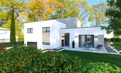 Maison design demi étage toit plat PERLE.