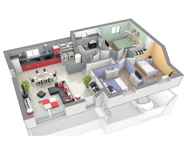 Maison moderne 1 2 tage rayon de soleil logivelay for Maison demi niveau toit plat