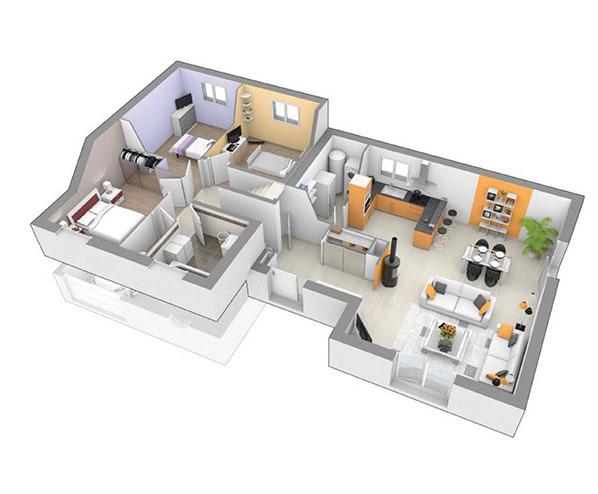 plan maison demi niveau 4 chambres