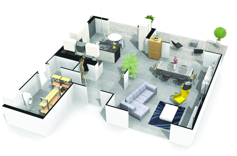 Maison contemporaine chadrac 43770 for Maison demi niveau toit plat