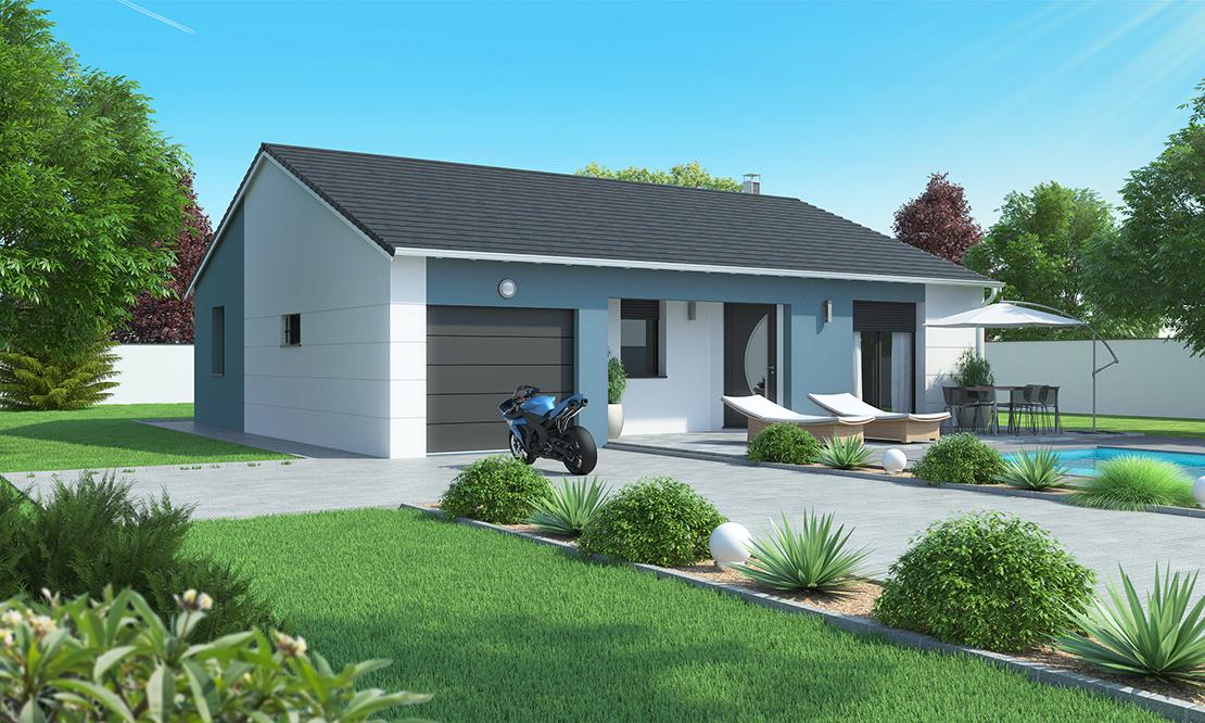 Maison plain pied moderne beaulieu 43800 - Voir sa maison de face ...