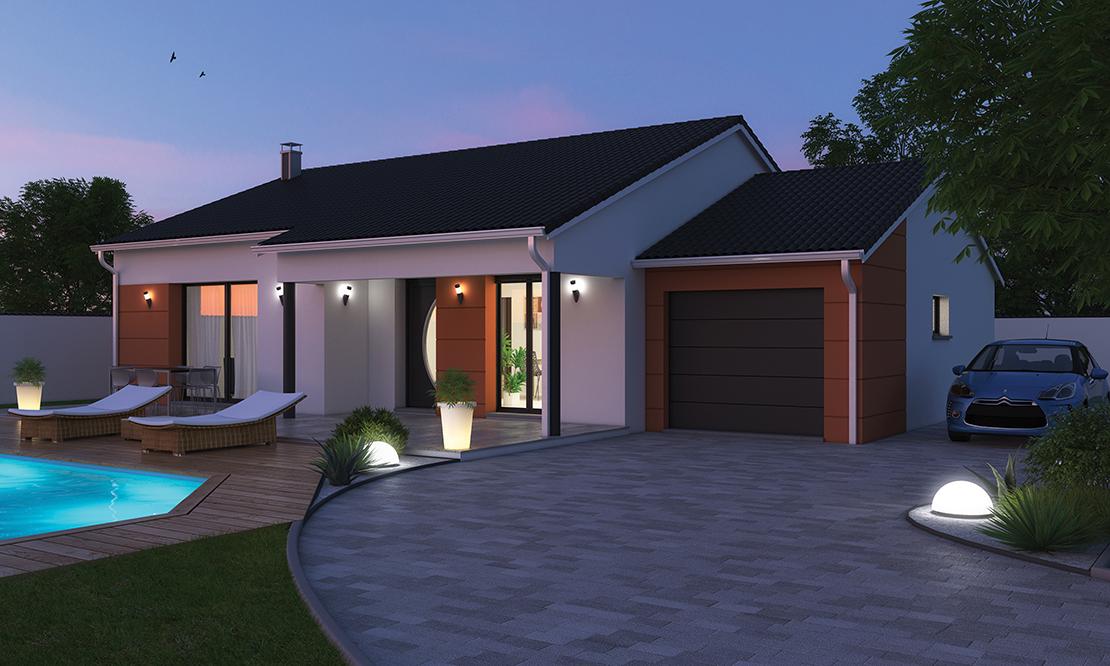 maison plain pied moderne beaulieu 43800. Black Bedroom Furniture Sets. Home Design Ideas