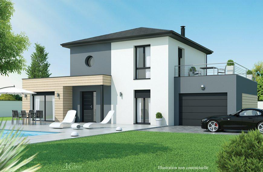 Maison design toit terrasse près d'Issoire 63500
