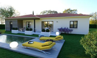 maison de plain-pied contemporaine avec notre modèle Pierre de Lune