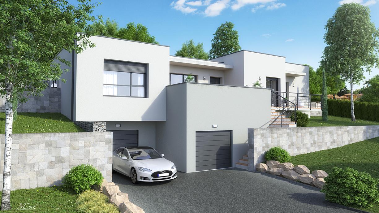 Maison design toit plat platine logivelay for Maison design toit plat