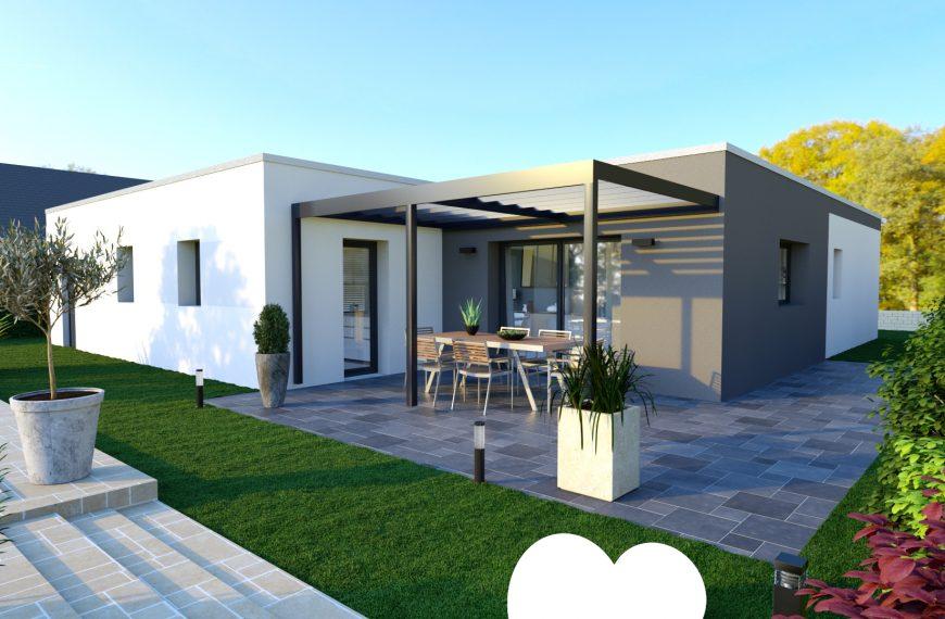 Maison design toit plat à Bas en Basset