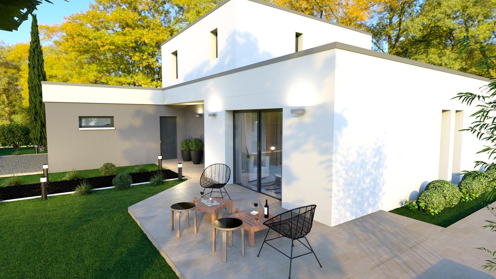 Maison Contemporaine à Toit Plat Corail Design