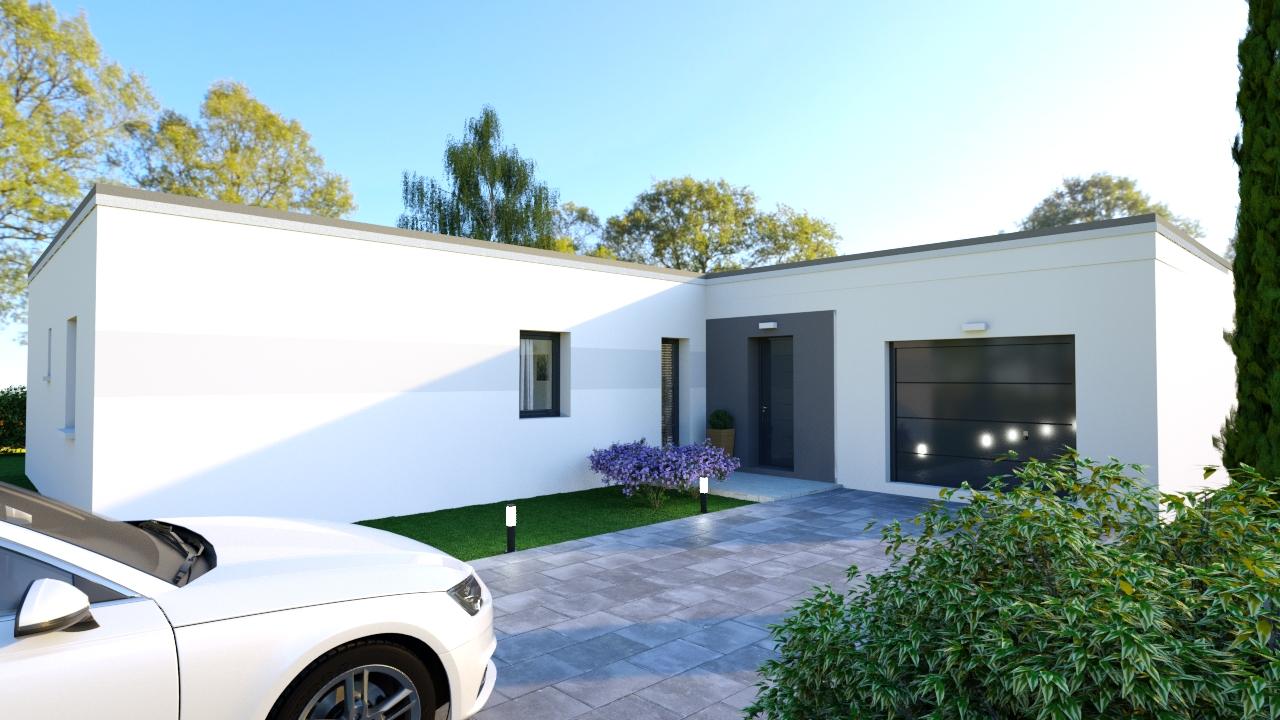 Maison Contemporaine Toit Terrasse oxyacantha, maison plain-pied à toit plat, 3 chambres
