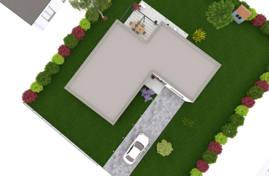 maison contemporaine à toit plat de plain-pied