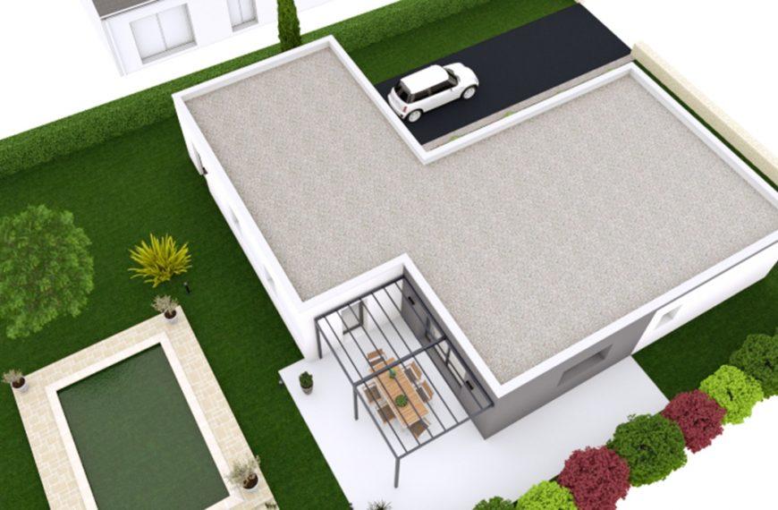 Maison contemporaine à toit plat de plain-pied Oxyacantha