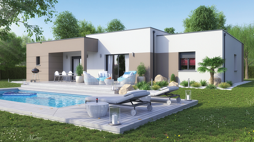 Maison design à toit plat proche du Puy-en-Velay 43000