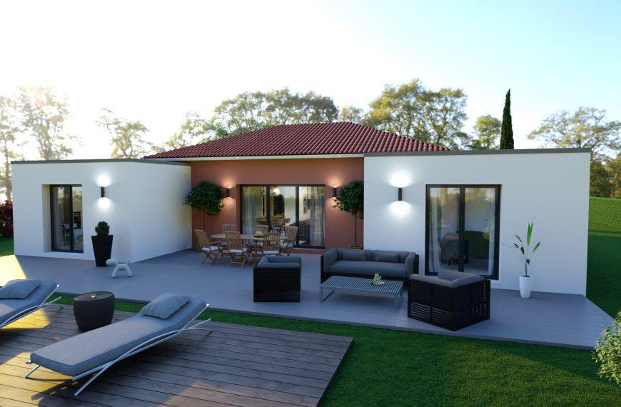 AMAZONITE, maison plain-pied toiture mixte, 3 chambres