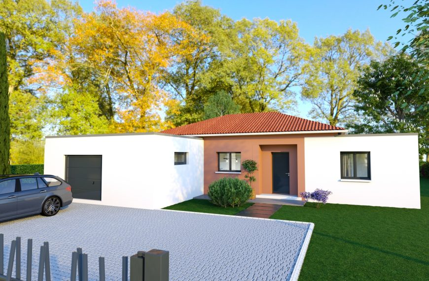 Exceptionnel modèle design de plain-pied alliant toiture 4 pans et toiture terrasse.