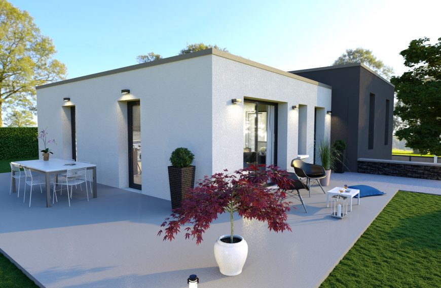Maison design en demi niveau Lolite pensée pour répondre aux attentes de ceux à la recherche d'une maison moderne à toit plat.
